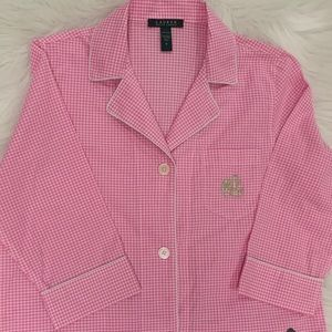 NWT Ralph Lauren Pink Gingham Check Sleep Shirt M